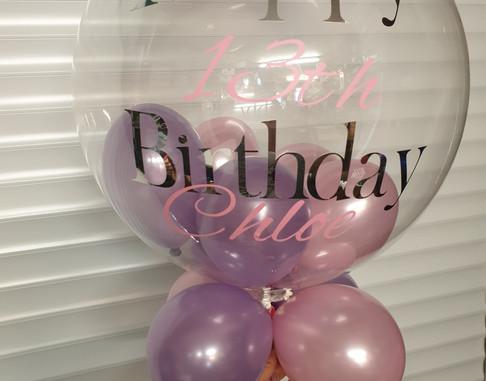 Lilac & pink birthday bubble balloon