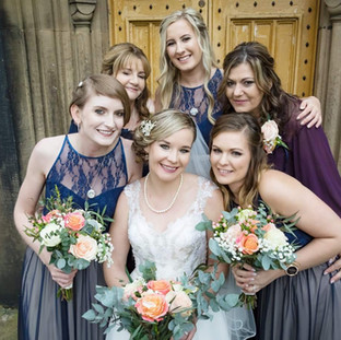 Mixed rose & Eucalyptus Bouquet Bridal shot
