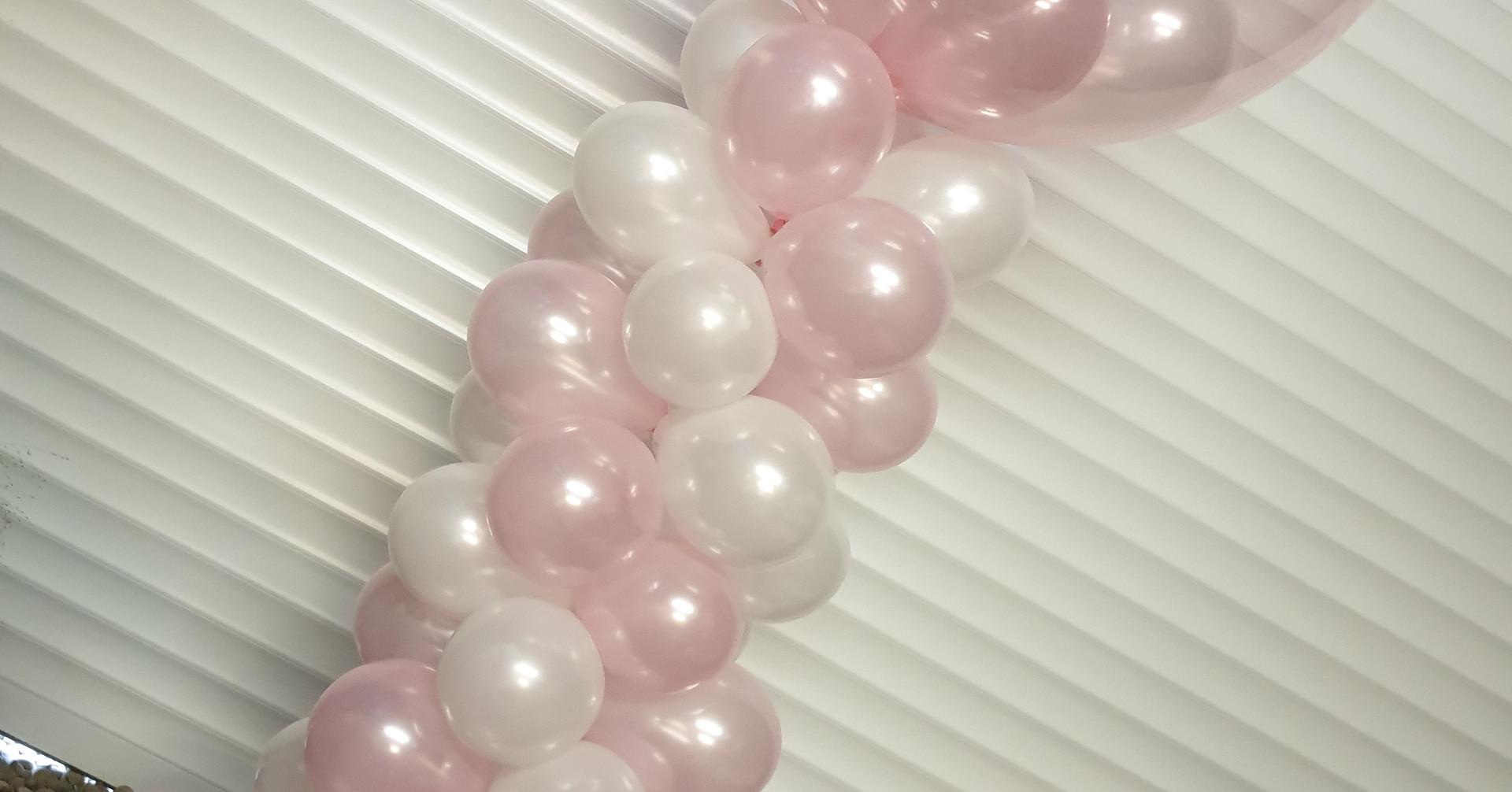 White & pink column birthday bubble