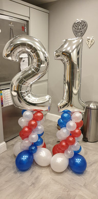 21st Silver Foil Topped, Red White & Blue Mini Column