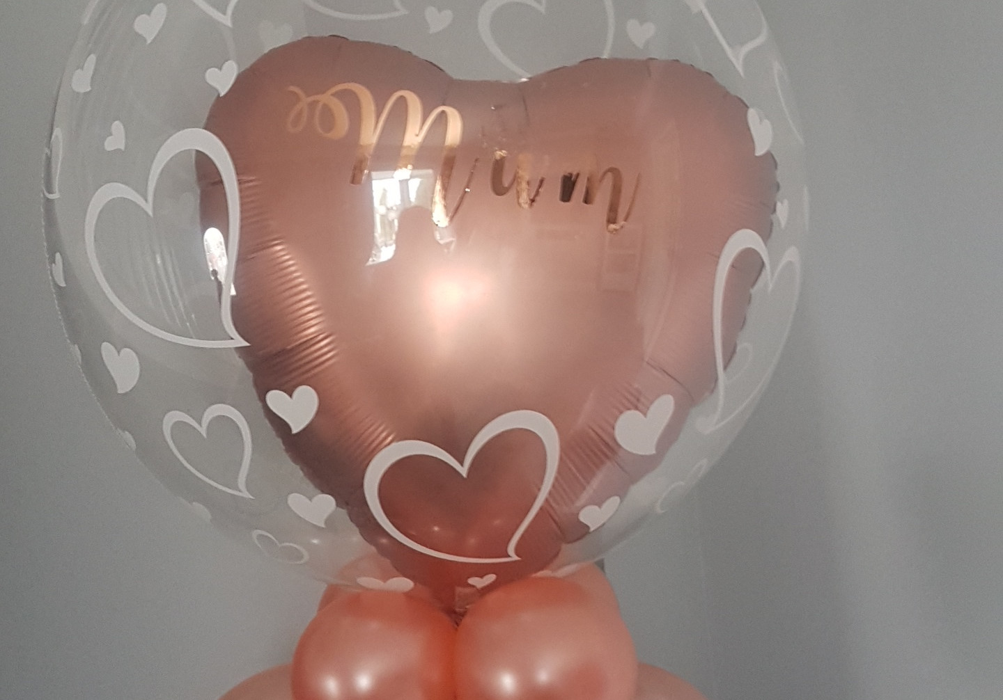heart print bubble balloon with rose gold heart foil