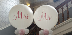 white 3ft with pink Mr & Mrs