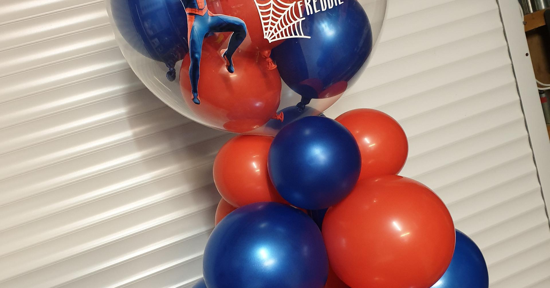 Spiderman column birthday bubble balloon