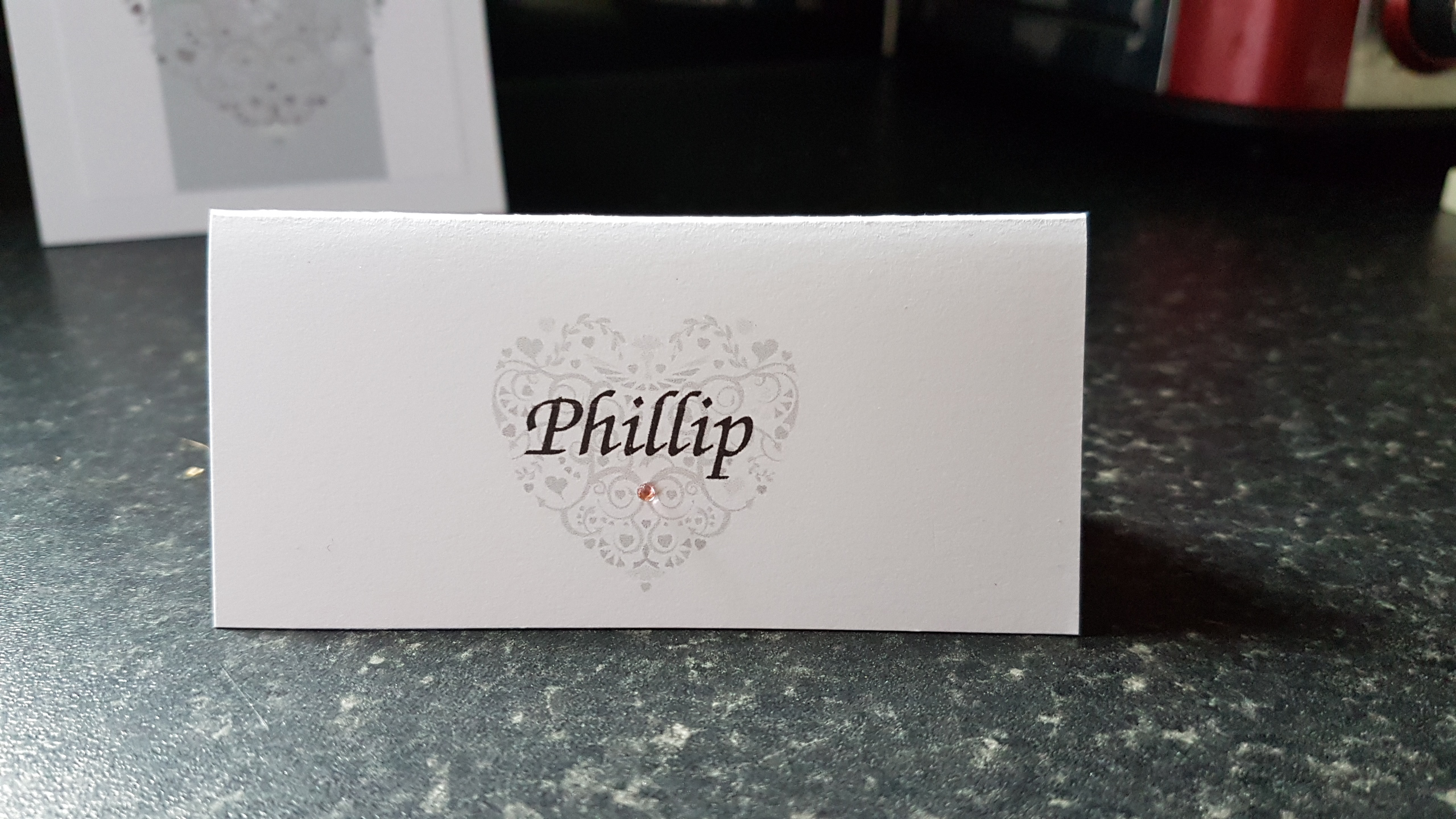 Ornate Heart Name Card