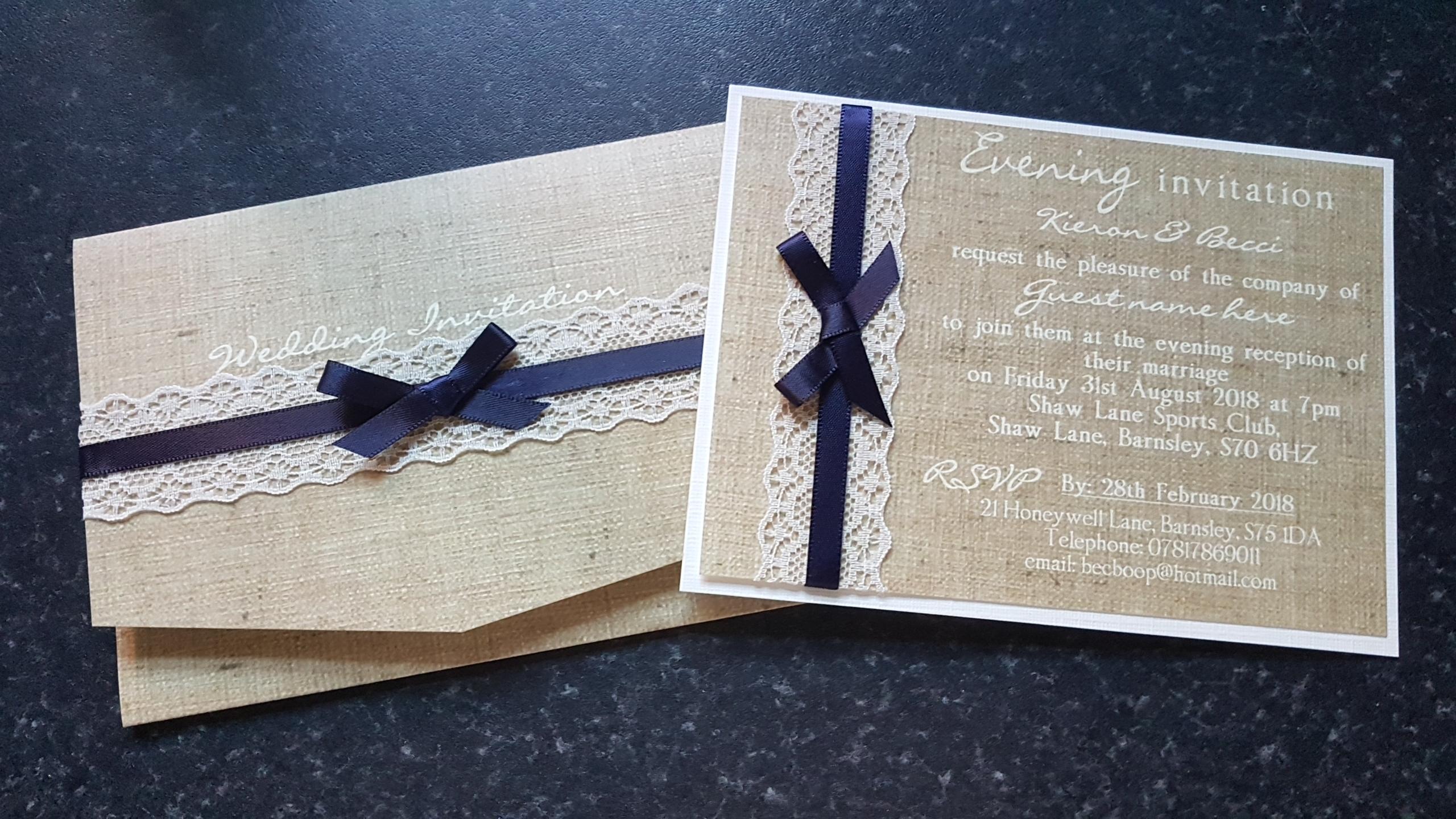 Burlap & Lace Pocket & Postcard