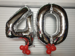 Silver 40 With Red Mini Balloons