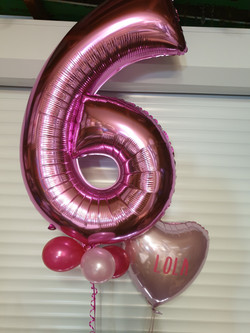 Hot Pink 6 with Foil Name Balloon