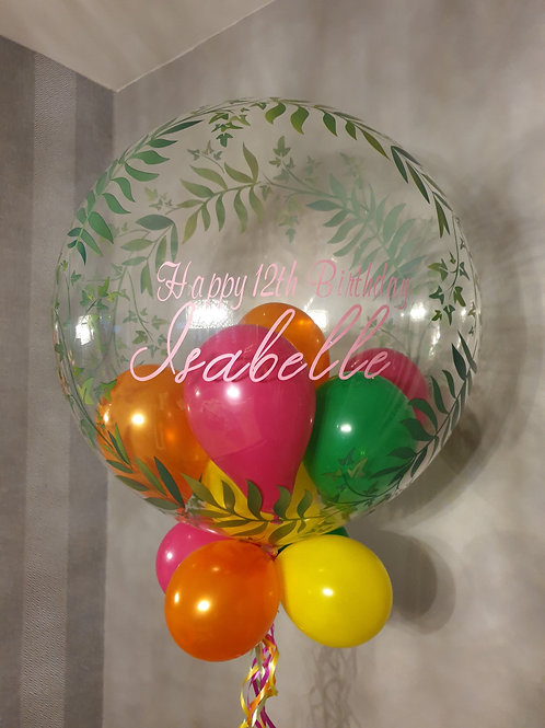 Tropical Leaf Bubble Balloon filled with mini balloons