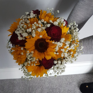 Sunflower, Red Rose & Gyp Bouquet