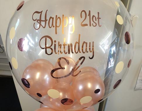 Dotty rose gold birthday bubble