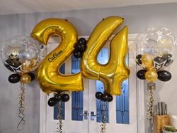 Gold 24 With Black Mini Balloons & Vinyl