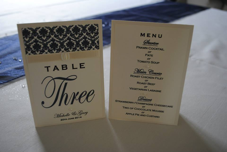 Table number with menu on reverse