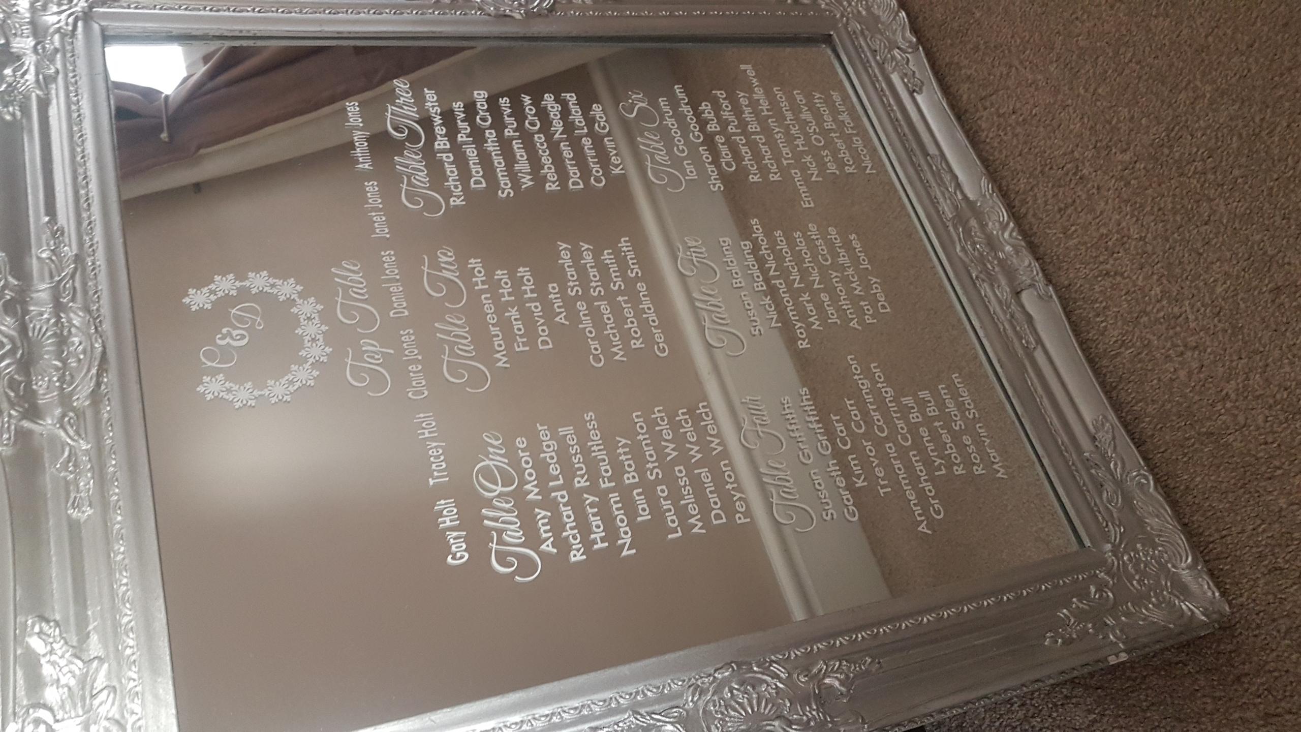 Vinyl table plan on silver mirror