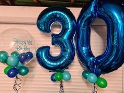 Royal Blue 30 With Green & Blue Mini Balloons & Vinyl