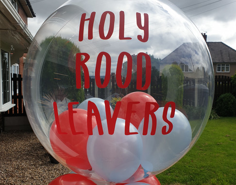 Red & blue leavers bubble balloon