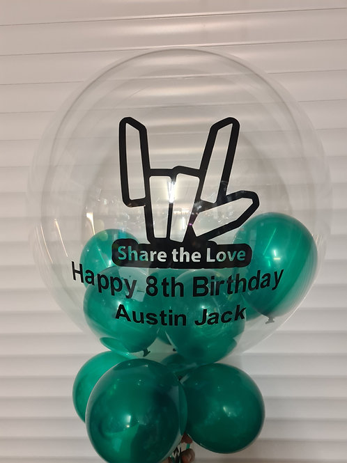 Share the Love Bubble Balloon filled with mini balloons
