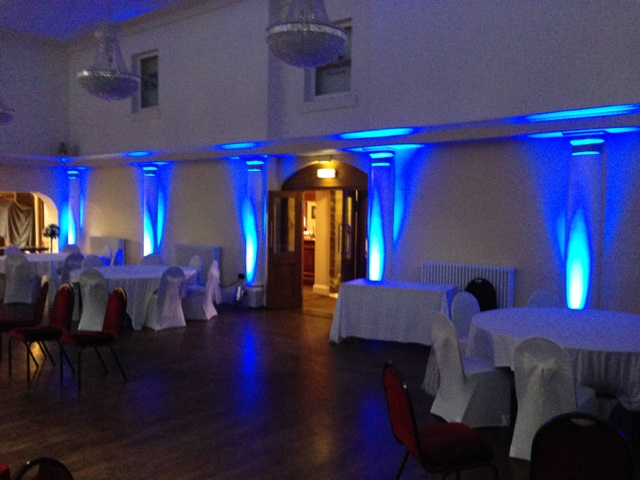 Blue uplighting at Wortley Hall