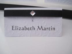 Diamante Feather Name Card
