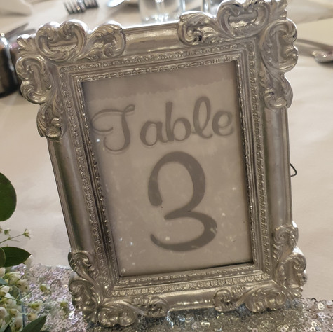 Silver Framed Table Name/Numbers
