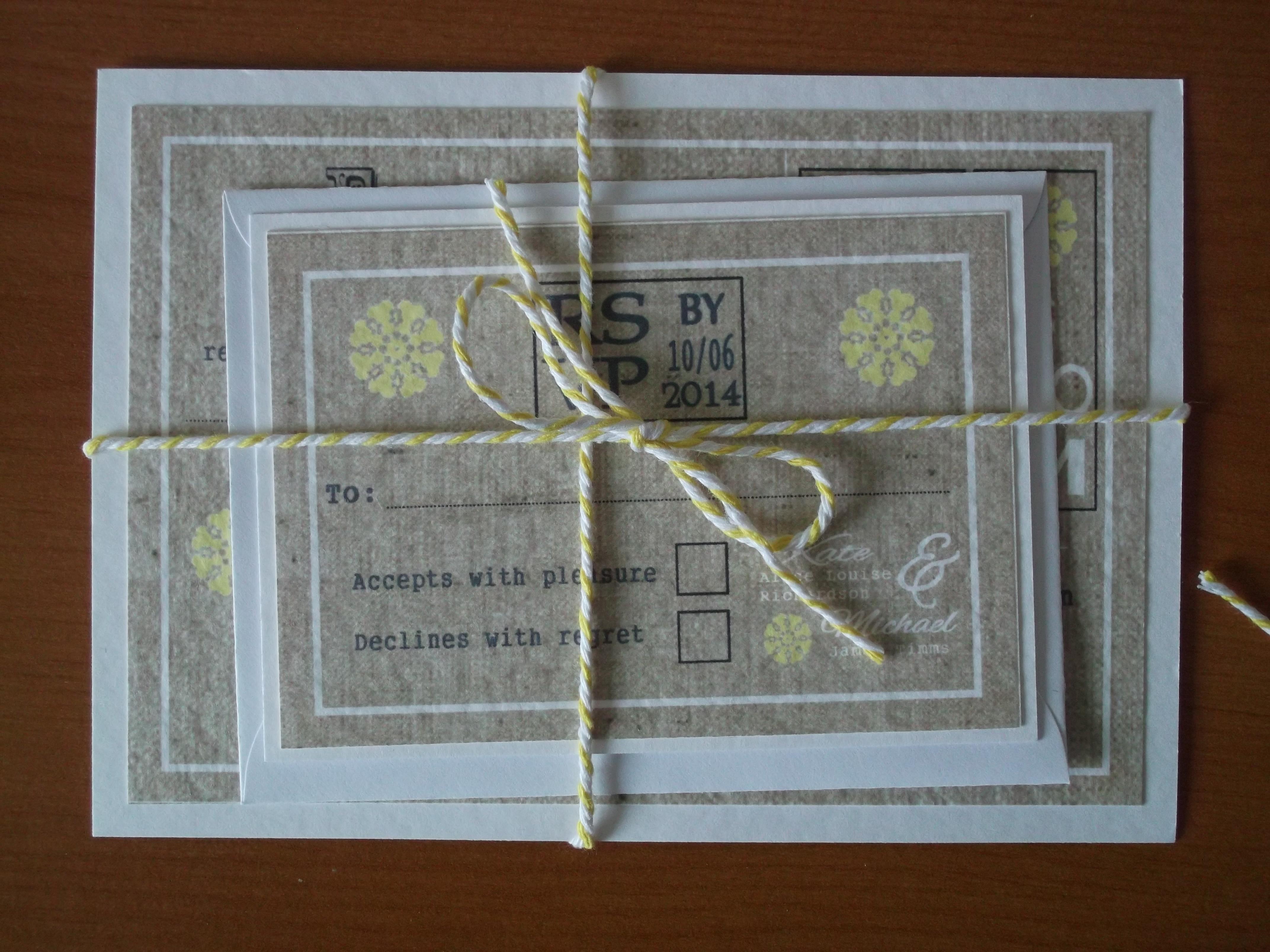 Burlap & Lace Postcard Invitation