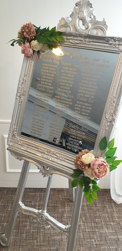 Vinyl Silver Ornate Mirror & Easel Table Plan With Flower Accents