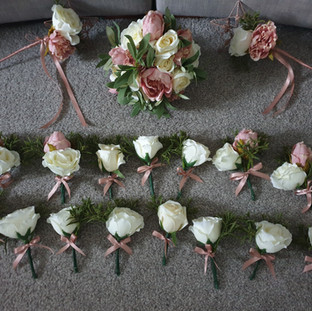 Artificial Cream and dusky pink rose corsage & buttonhole