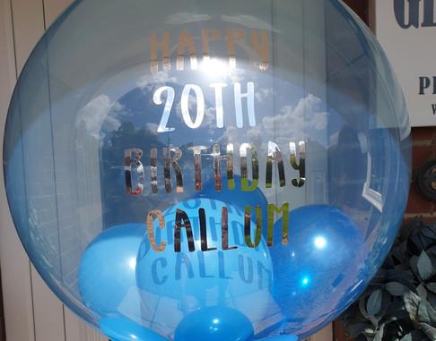 Blue bubble with blue mini balloon