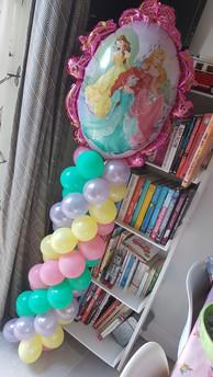 Pricness Foil Balloon Topper on Pastel Mini Balloon Columns