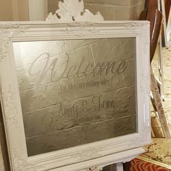 White Ornate Mirror & Easel