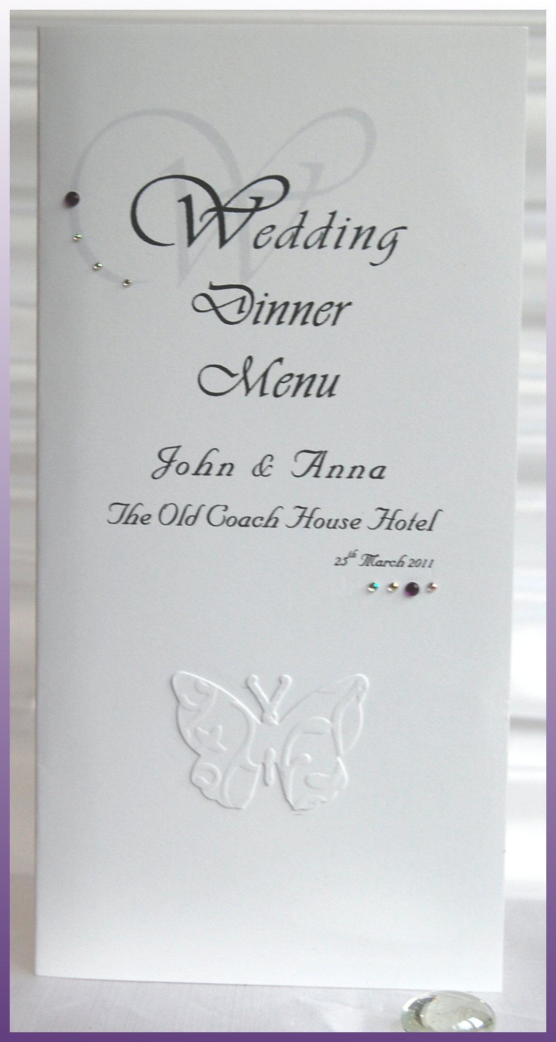 Embossed Butterfly Menu