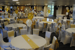 White Chair Covers With Alternate Silver & Gold Sash