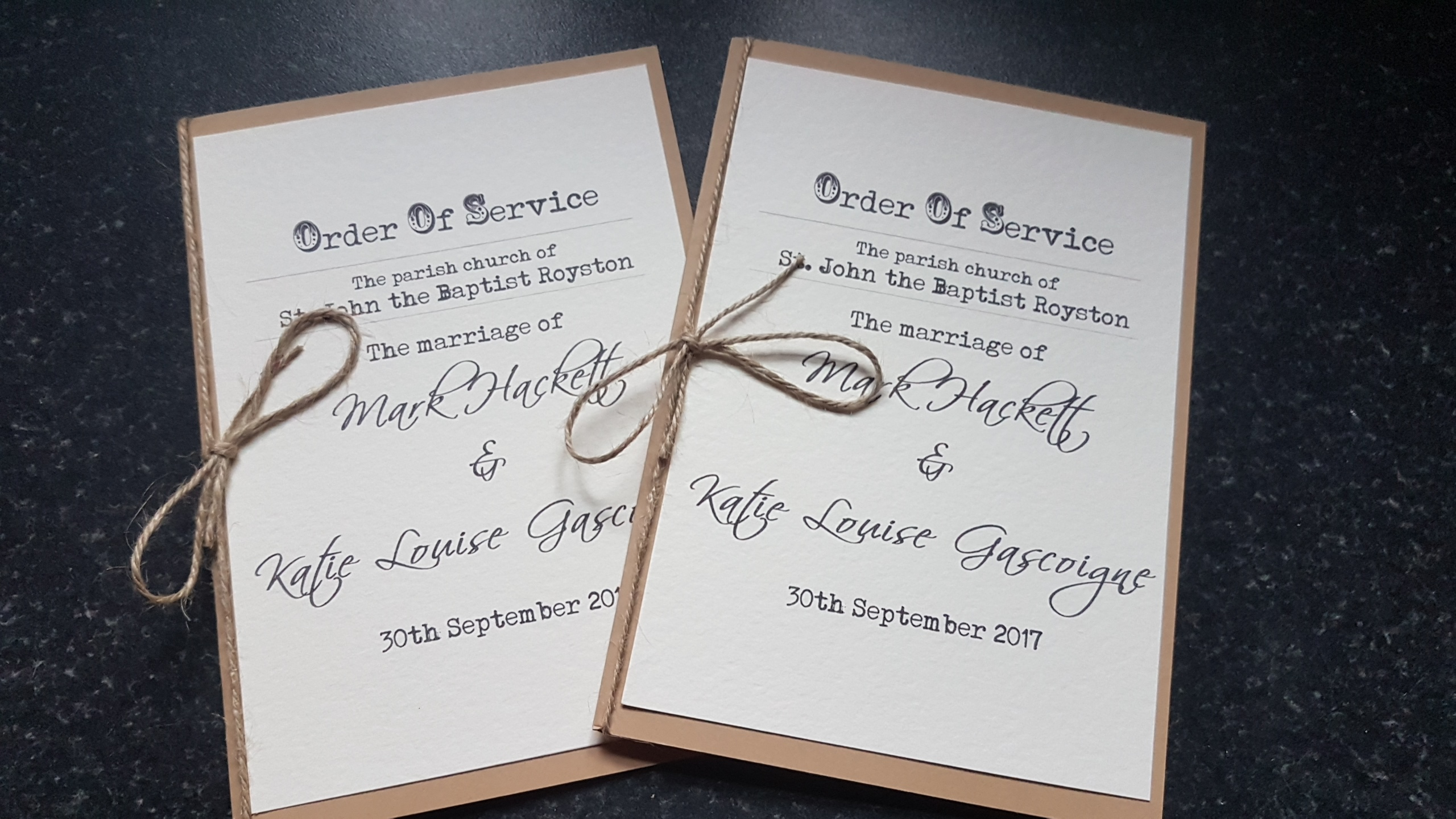 Rustic Order of Service