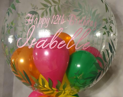 Leaf print tropical bubble