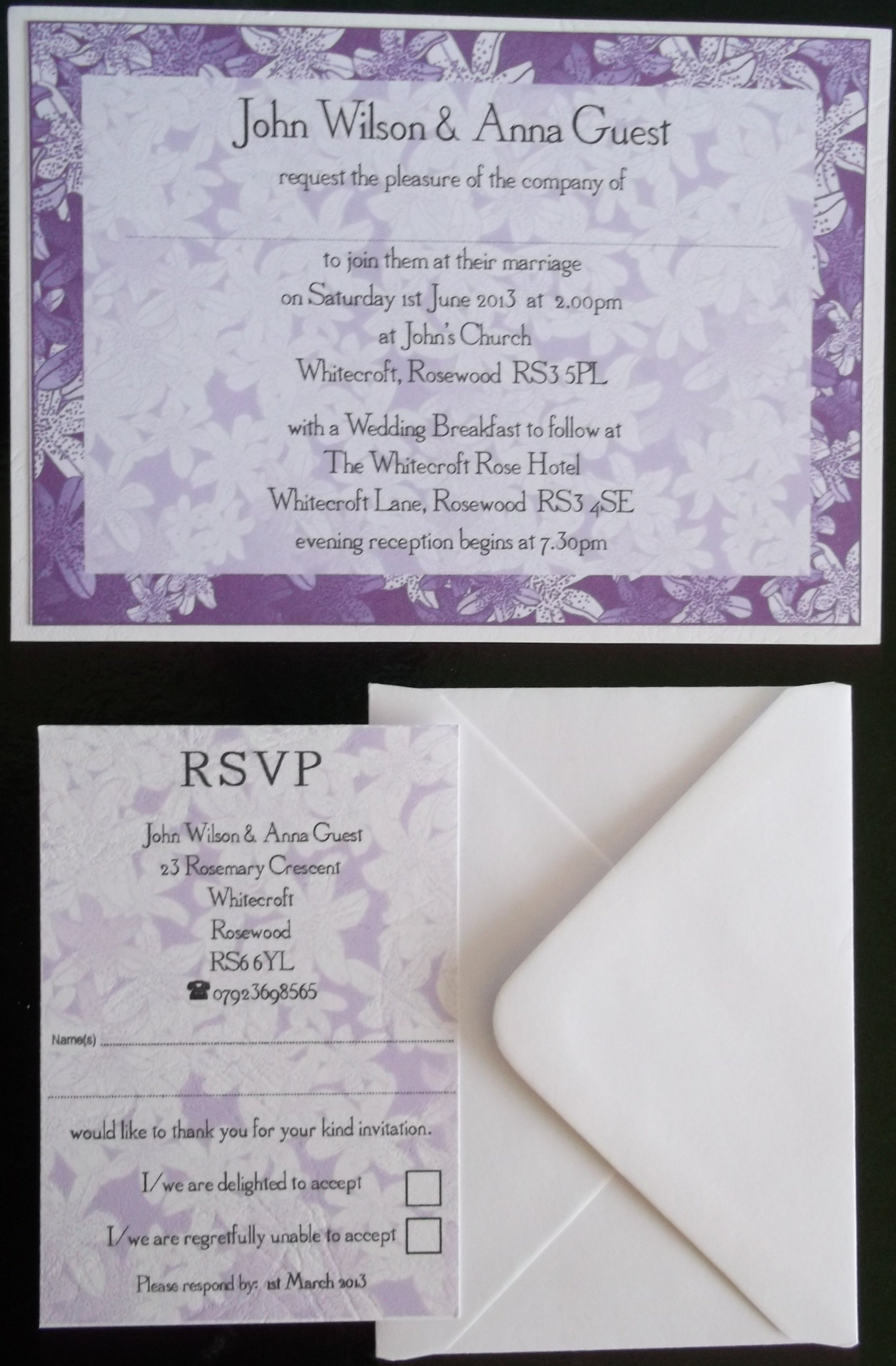 Tiger Lily Evening Invite