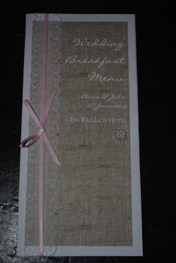 Burlap & Lace Table Menu
