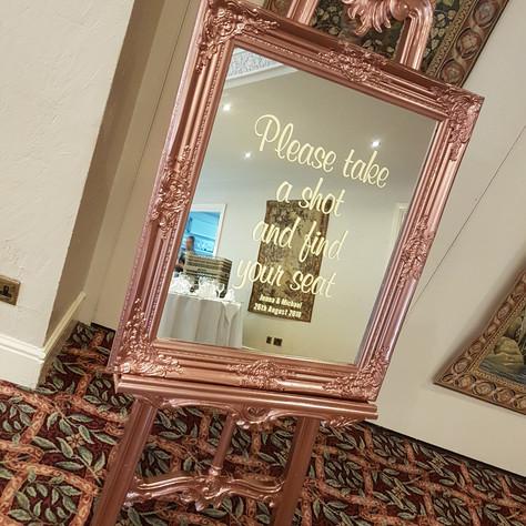 Rose Gold Framed Mirror Sign