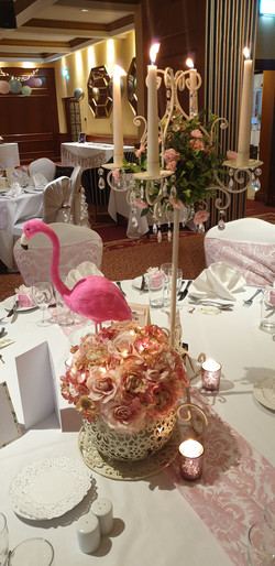 Gold Candelabra, Flamingo, Giant Teacup