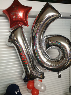Silver 16 With Red Star Happy Birthday Balloon