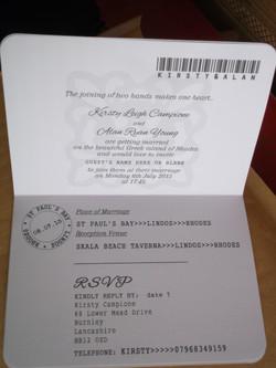 Passport Wedding Invitation Inside