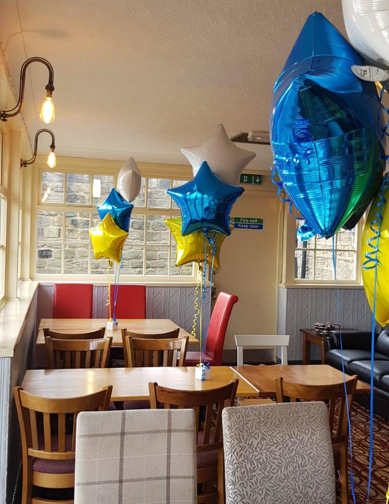 Leeds theme royal, yellow and white foil trio of balloons