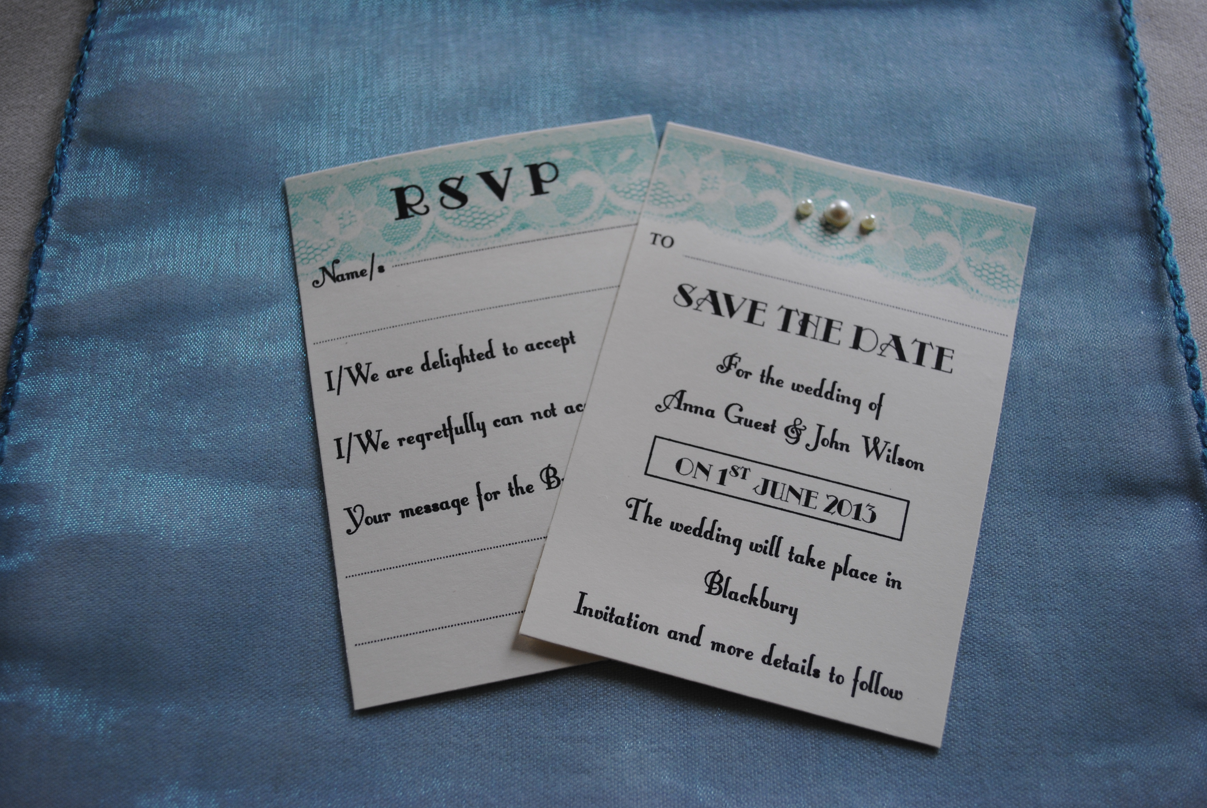 Lace Bow RSVP & Save The Date