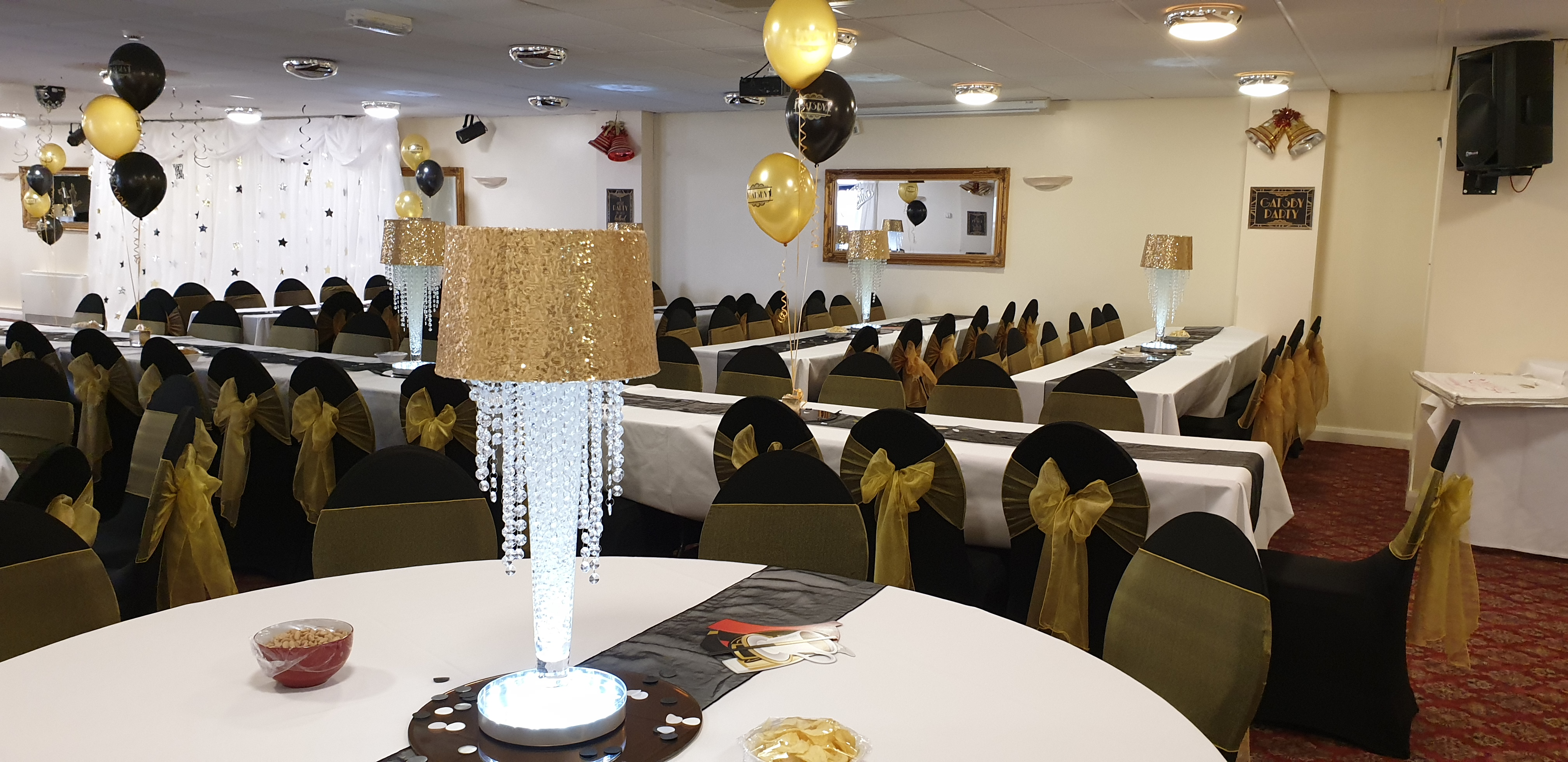 Gold sequin gatsby lamp