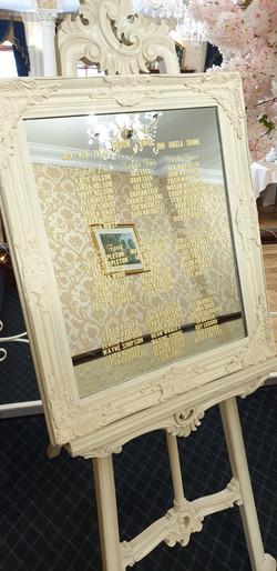 Ivory Vinyl Ornate Mirror Table Plan & Easel