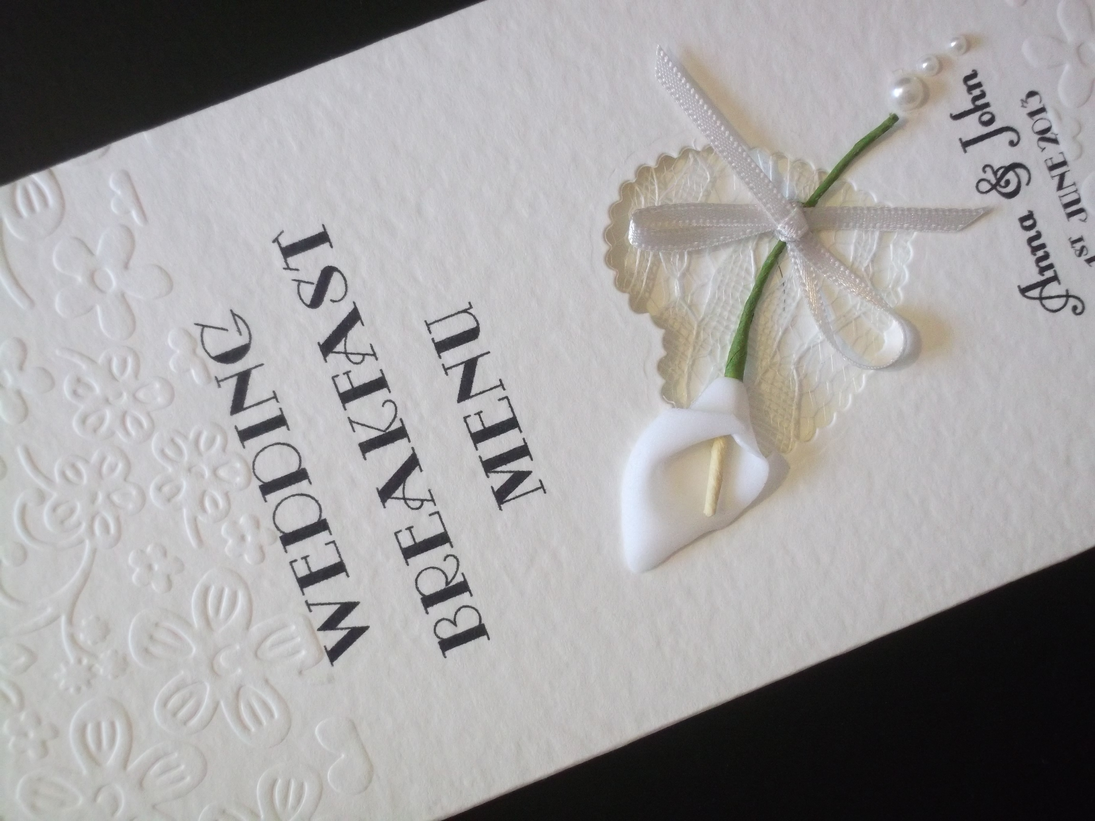 Calla Lace Menu