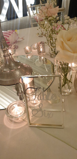 Vinyl Silver Glass Table Number