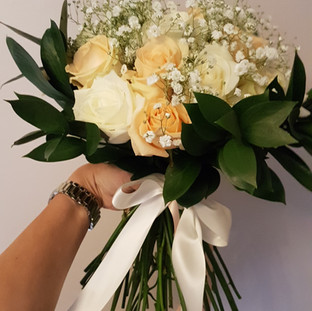Fresh rose & gyp bridal bouquet