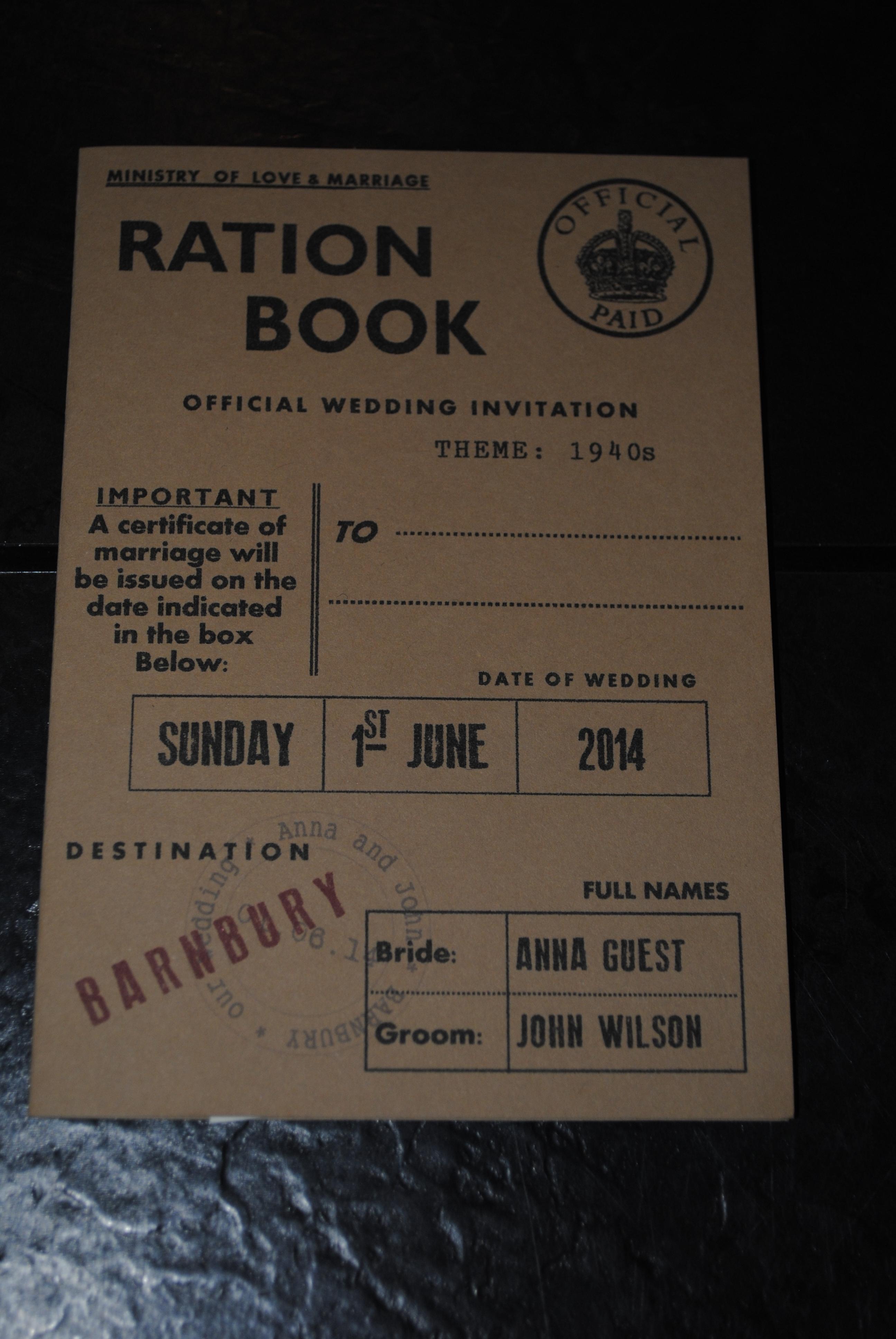 Ration Book Day Invite