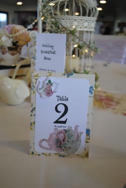 Teacup Table Number
