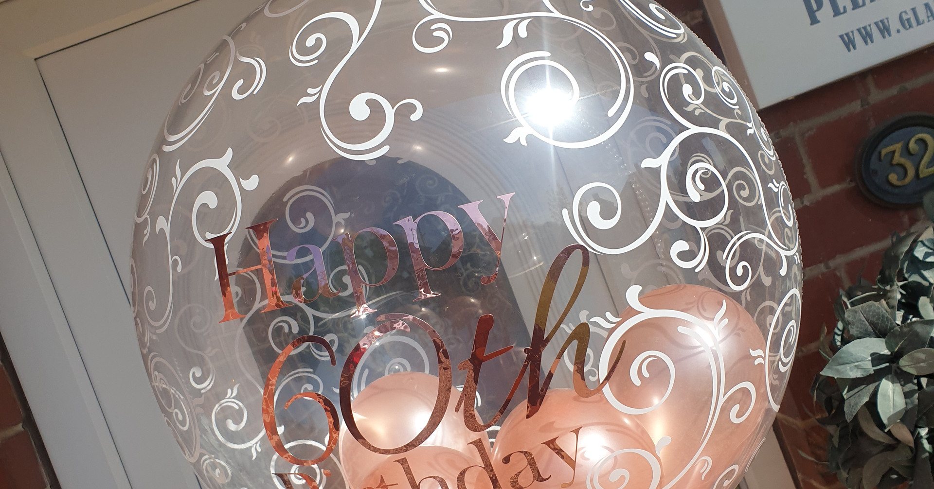 Script print rose gold birthday bubble