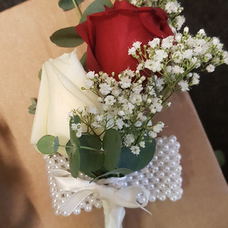 Fresh red & Ivory rose corsage with gyp